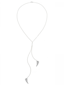 TIE NECKLACE WITH WHITE CRYSTAL