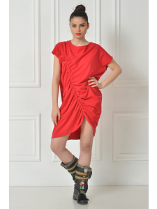 DRAPED RED SHIRT DRESS