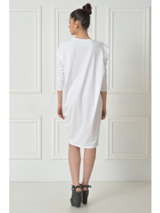 DRAPPED COTTON WHITE MINI DRESS