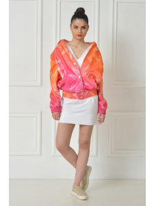 PRINTED TAFFETA AVIATOR JACKET