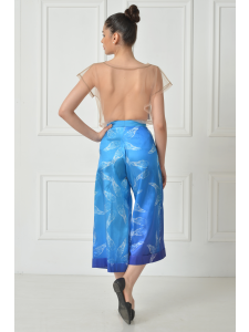 PRINTED TAFFETA SPLAY PANTS